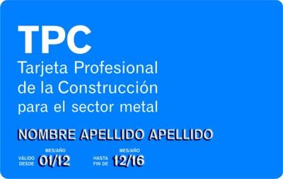 Tarjeta Profesional de la Construcción sector METAL - TPM - GESFORLEV - Valencia